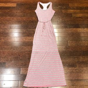 Loveappella Gray & Pink Striped Maxi Dress